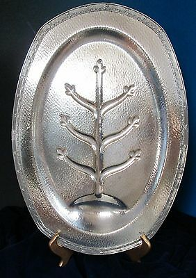 Antique Large Well & Tree Platter Hammered Silverplate W M Mounts