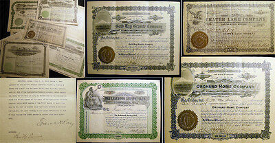 1895 - 1924 Ray Brothers Oregon Mining Power Real Estate Stock Certificates