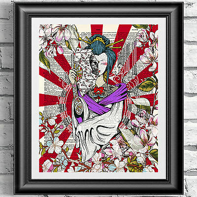Printed dictionary book page Japanese Tattoo Girl Geisha Art Poster Wall Decor