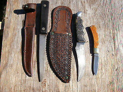 "KNIFE LOT SCHRADE WALDEN 148/ SCHRADE 3 34"" LTD WOOD/ FISH FILET KNIFE/SHEATHS"