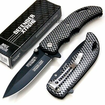 "7"" Carbon Fiber Design Tactical Combat Spring Assisted Open Pocket Knife 7675-H"