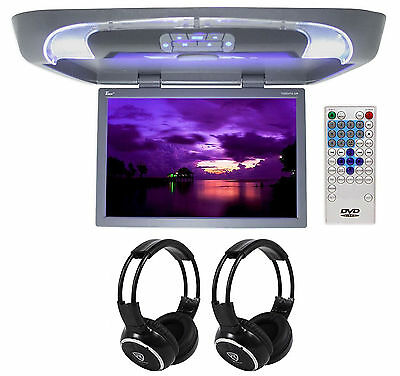 "TView T20DVFD 20"" Gray Flipdown Video Monitor DVD Player + 2 Wireless Headsets"