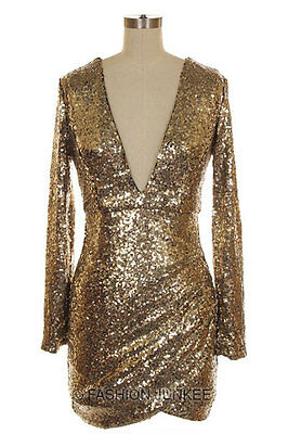 GOLD SEQUIN V-NECK Long Sleeve DRESS Sexy Cocktail Low Cut XL 1X 2X 3X PLUS SIZE