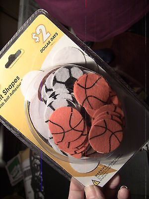 Felt Shapes w/ Adhesive back - Sports-Basketball, Soccerball Baseball Football