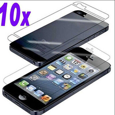 10x High Front and back CLEAR Screen Protector Cover for Apple iPhone 5 5S 5G