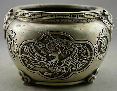 Collectible Decorated Old Handwork Tibet Silver Carved Dragon Phoenix Pot