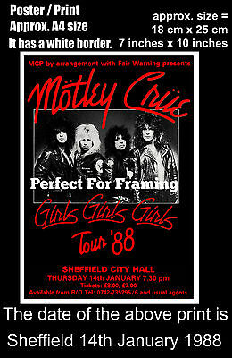 Motley Crue live concert at Sheffield 14th of January 1988 A4 size poster print