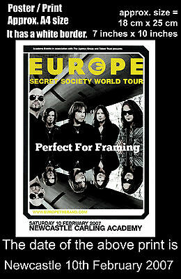Europe Joey Tempest live concert Newcastle 10 February 2007 A4 size poster print