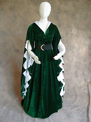 Green Scalloped Renaissance Medieval Dress SCA GOT Faire Game of Thrones LOTR 4X