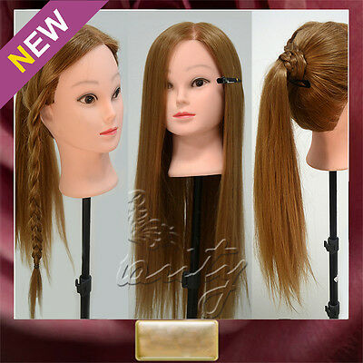 """26"""" TOP 30% Real Human Hair Training Head Cosmetology Mannequin Doll +FREE Clamp"""