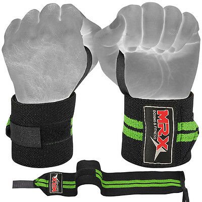 Weight Lifting Training Wrist Support Wraps Gym Cotton Bandage Straps Green 18""