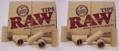 2 Boxes RAW PRE ROLLED TIPS Natural prerolled for cigarette rolling paper RYO