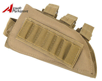 Tactical Rifle Shotgun Stock Ammo Pouch Holder w/ Leather Pad for Left Hand Tan