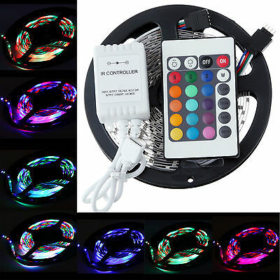 5M 3528 RGB SMD 300 LEDs non-waterproof light strip lamp + 24 keys IR remote