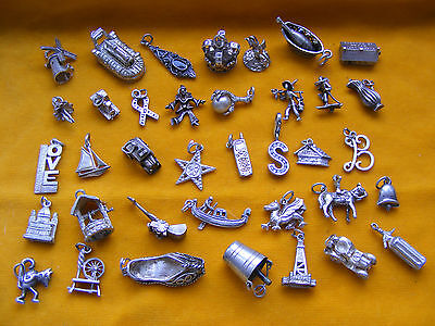 QQ VARIOUS VINTAGE STERLING SILVER CHARM PIXIE CROWN JUG YACHT BELL WELL CAR