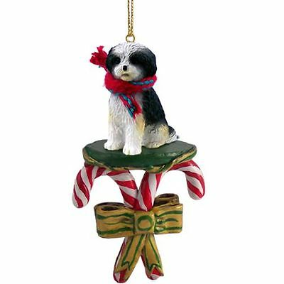SHIH TZU Black White Sport Cut Dog Candy Cane Christmas Tree ORNAMENT