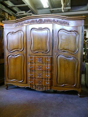 Early 20th C. French Country Louis XV Armoire Wardrobe Cabinet
