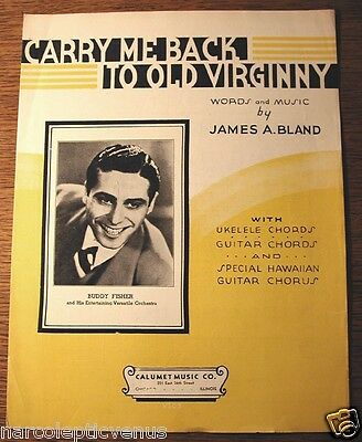 Vtg 1935 CARRY Me Back to Old VIRGINNY Black AMERICANA Sheet MUSIC Buddy FISHER