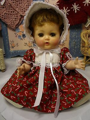 "SSO DOLL CLOTHES RED CANDY CANE DRESS, PANTIES & BONNET for 11 1/2"" TINY TEARS"