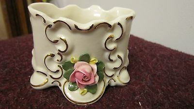 """Vintage """"N"""" Dresden  252 Porcelain Dish White w/ Roses & Gold Accented"""