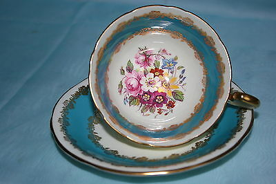 Lovely Aynsley bone china cup saucer set - Blue/Beige/Gold/Floral, Pat.No. 198