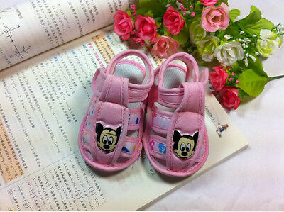 BG shoe pink flower mickey sandals Soft bottom infant shoes first walkers 10CM
