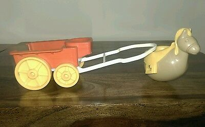 VINTAGE 1974 HASBRO HORSE & CART FOR WEEBLES