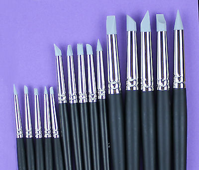 Set of 15 Flexible Silicone Color Shapers Clay Sculpting Tools #0 #2 #6 Grey