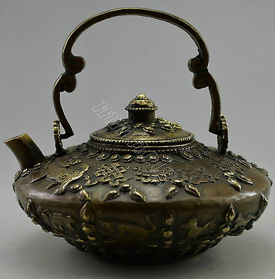 Collectible Decorated Old Handwork Copper Carved Tibet 12 Zodiac Tea Pot