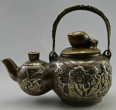 Collectible Decorated Old Handwork Copper Carved 8 Immortal On Gourd Tea Pot