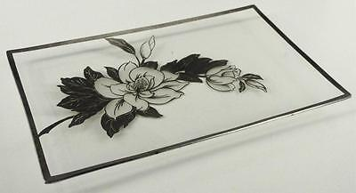 Vintage ROCKWELL SILVER Sterling Overlay MAGNOLIA Flower Mid Century Glass Tray