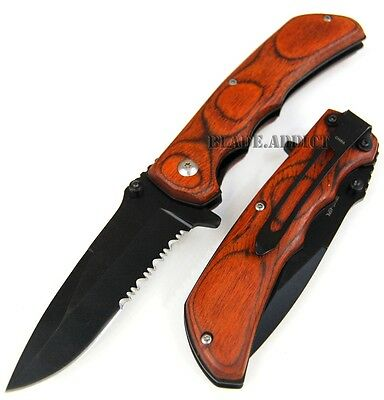 REAL WOOD Inlay Spring Assisted Open Tactical Folding Pocket Knife SP207-45PK-U
