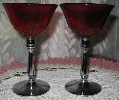 **PAIR OF RUBY RED GLASSWARE FOR A SPECIAL DESSERT**