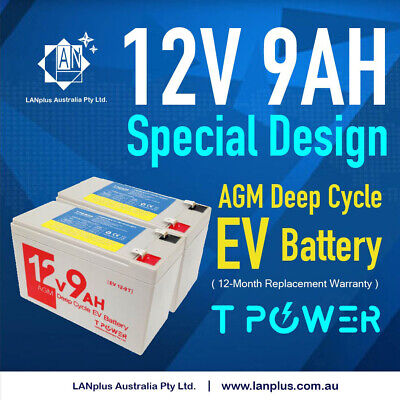 2x NEW 12V 9AH SLA AGM Battery 60CCA  For Razor E200 E200S E300 E300S Scooter