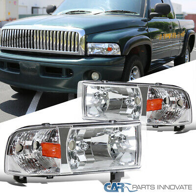 For 94-01 Dodge Ram 1500 2500 3500 Chrome Clear Headlights+Corner Signal Lamps