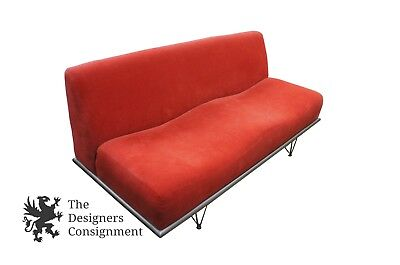 CONTEMPORARY RED SOFA Couch Mid Century Modern Atomic Age ...