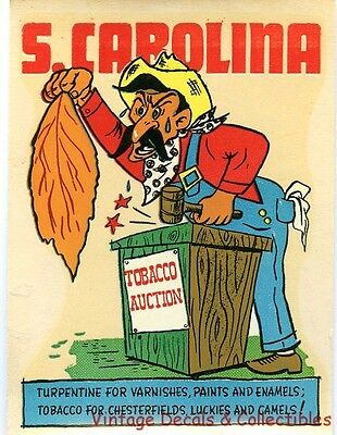 Vintage South Carolina Tobacco Cigarette State Novelty Comic Travel Water Decal