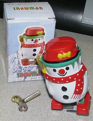 Silly Snowman Wind Up Classic Tin Toy Brand New