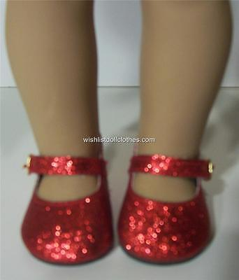 RED SPARKLE DOLL SHOES fits AMERICAN GIRL DOLL and 18 Inch Dolls !