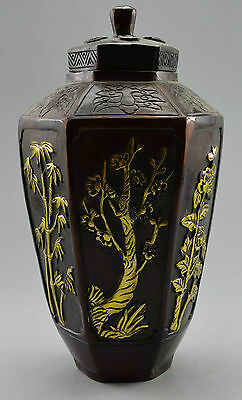 Collectible Decorated Old Handwork Red Copper Carved Bamboo Flower Pot