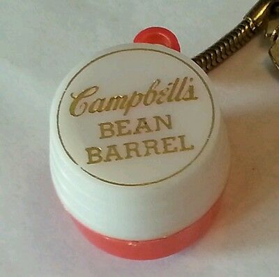 """1960's CAMPBELLS SOUP """"BEAN BARREL PROMOTIONAL COIN HOLDER/ KEY CHAIN"""