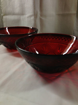 J.G. Durand Cristal d'Arques Arcoroc Ruby Red Soup, Chili, or Cereal Bowls (2)
