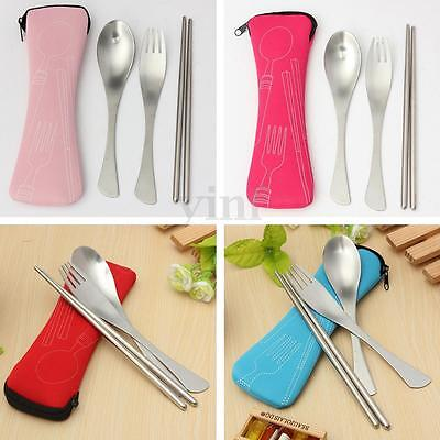Spoon Fork Camping Hiking Travel Utensils Spork Combo Gadget Cutlery with Bag