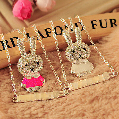 New Rabbit Rhinestone Enamel Crystal Long Chain Charms Pendant Necklace Jewelry