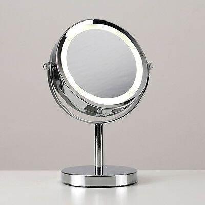 Free standing chrome led magnifying make up vanity for Silver stand up mirror