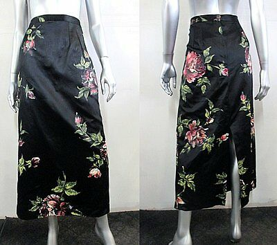 VINTAGE HAND PAINTED MADE IN FRANCE SILK SATIN 60S COUTURE SKIRT Sz XL