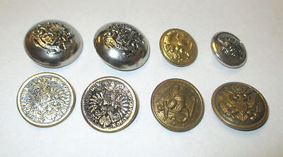 8 Silver Tone & Gold Tone  Military Embossed Looking Vintage Buttons  ***