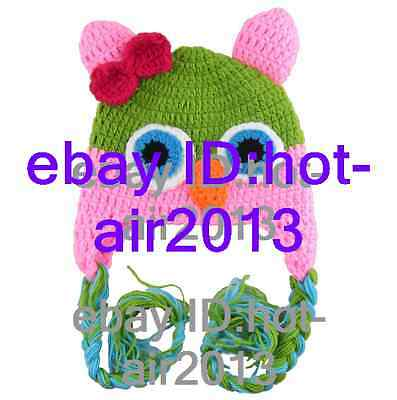 Cute Owl Baby Toddler Handmade Knit Crochet Photography Warm Beanie  Ear Hat 26#