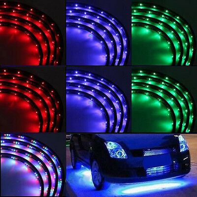 "7 Color LED Under Car Glow Underbody System Neon Lights Kit 48"" x 2 & 36"" x 2"