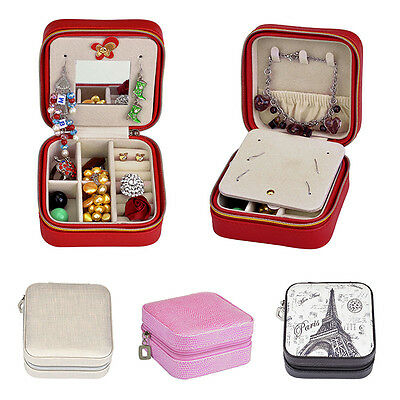 New Travel Portable Zip Jewelry Box Ring Necklace Display Earring Case Organizer